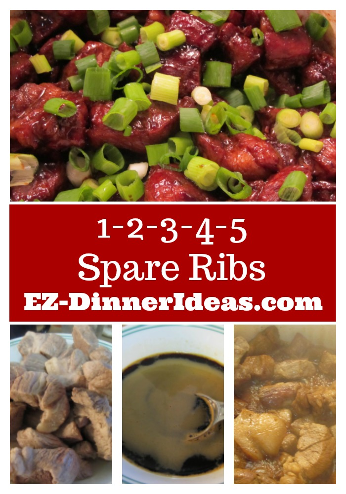 Chinese Pork Rib Recipe | 1-2-3-4-5 Spare Ribs - This Chinese pork rib recipe was passed it down from my mom.  So as its name, 1-2-3-4-5 Spare Ribs.  Best of all, mouth-watering ribs ready in an hour.