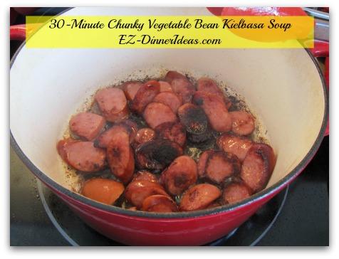 30-Minute Chunky Vegetable Bean Kielbasa Soup - Brown Kielbasa