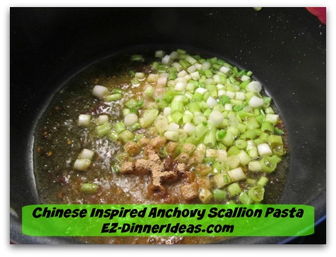 Chinese Inspired Anchovy Scallion Pasta - Add scallion, ginger and salt