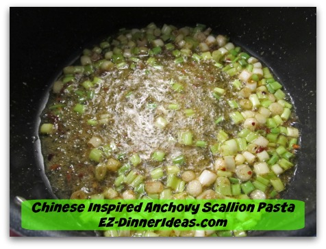 Chinese Inspired Anchovy Scallion Pasta - Stir in sesame oil and light soy sauce