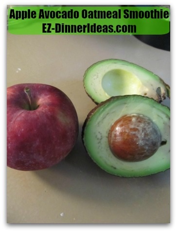 Apple Avocado Oatmeal Smoothie - Cored and cut apple and avocado in quarters