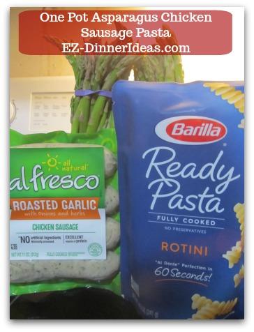 Chicken Sausage Recipe | One Pot Asparagus Chicken Sausage Pasta - 3 quick cooking ingredients, i.e. asparagus, chicken sausage and cooked pasta.