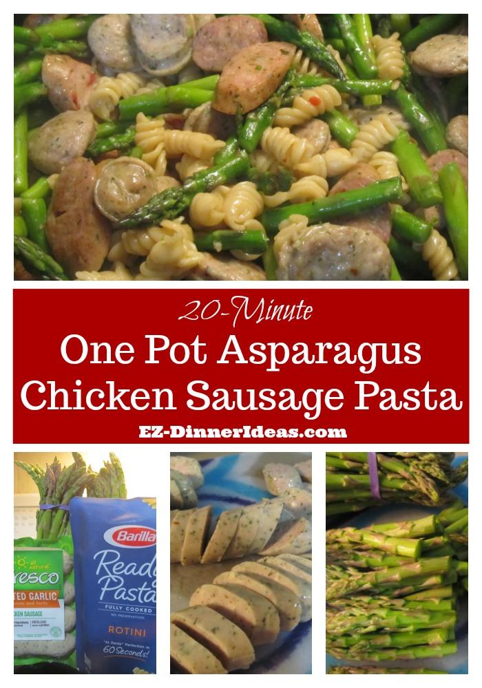 One Pot Asparagus Chicken Sausage Pasta