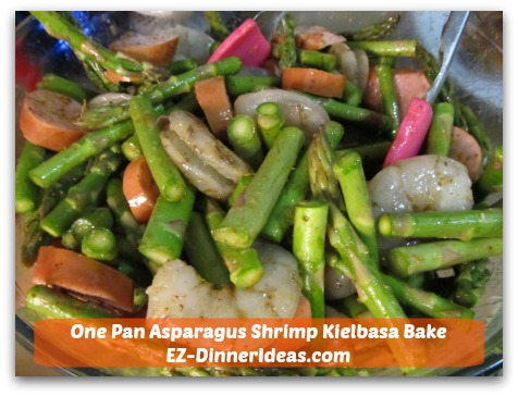 One Pan Asparagus Shrimp Kielbasa Bake - Add shrimp and Kielbasa; toss to coat