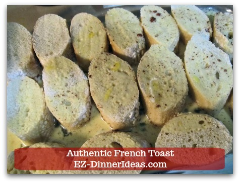 Idea Breakfast | Authentic French Toast - Pour batter on top of sliced bread.