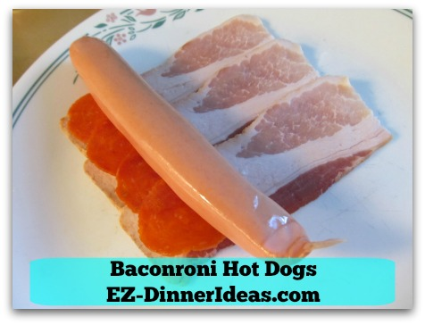 Baconroni Hot Dogs - Line bacon, pepperoni  and hot dog together and roll towards the other end