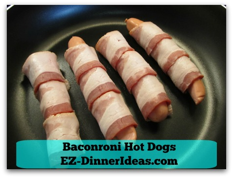 Baconroni Hot Dogs - Seam side down on a cold skillet before turning on the heat
