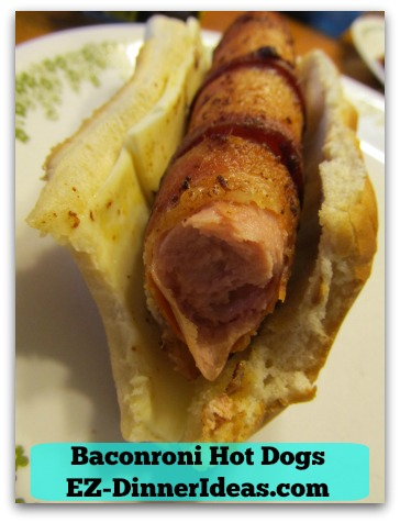 Baconroni Hot Dogs - Mmmmm.....the crispy bacon adds another crisp on the outside of a hot dog.  You can even hear it when you bite it