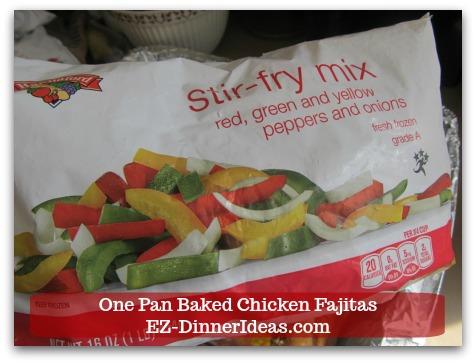 Easy Chicken Fajitas Recipe | One Pan Baked Chicken Fajitas - 3 bags (1lb each) Frozen Stir-fry Mix (aka Pepper Onion Mix)