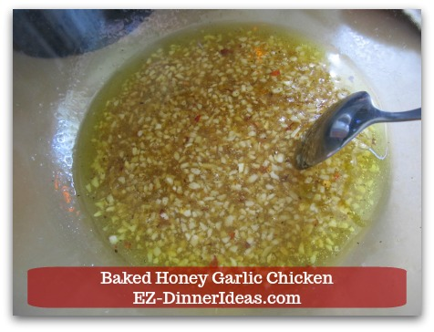 Recipe for Baked Chicken | Baked Honey Garlic Chicken - Cook dressing in a shallow pan and simmer.
