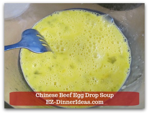 Easy Ground Beef Meal | Chinese Beef Egg Drop Soup - While waiting for the soup to come to a boil, beat 2 eggs.