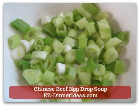 Easy Ground Beef Meal | Chinese Beef Egg Drop Soup - Chop 3 scallions for garnish later
