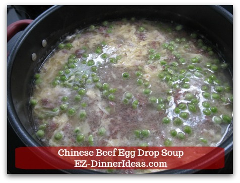 Easy Ground Beef Meal | Chinese Beef Egg Drop Soup - Add frozen green peas.