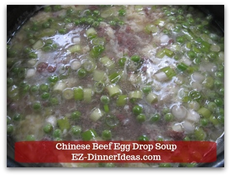 Easy Ground Beef Meal | Chinese Beef Egg Drop Soup - Add chopped scallions.