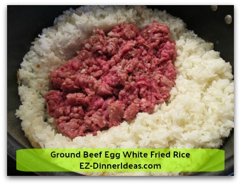 Ground Beef Egg White Fried Rice - Use spatula to cut meat into bite size and brown