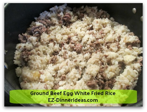 Ground Beef Egg White Fried Rice - Stir to combine cooked beef and rice together