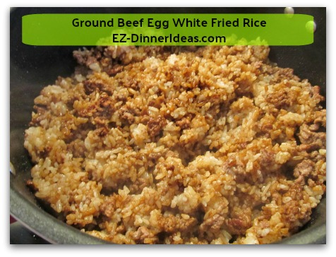 Ground Beef Egg White Fried Rice - Stir in Minced garlic, ginger powder and dark soy sauce