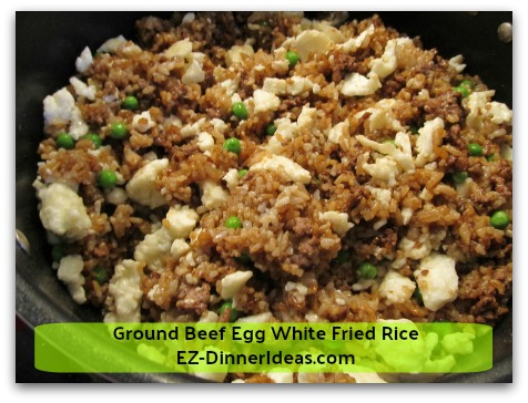 Ground Beef Egg White Fried Rice - Egg white as the last ingredient to go in is to keep it from picking up the dark soy sauce color.  The goal is to keep these 2 contrasting colors in this dish
