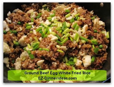 Ground Beef Egg White Fried Rice - Add sesame oil and garnish with chopped scallion (optional) and enjoy