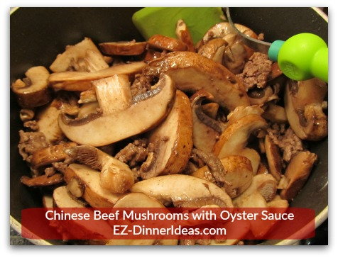 Chinese Beef Mushrooms with Oyster Sauce - Stir regularly