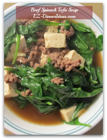 Beef Spinach Tofu Soup