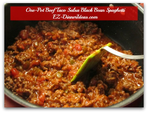 One-Pot Beef Taco Salsa Black Bean Spaghetti - Mix beef with Taco Seasoning and Salsa