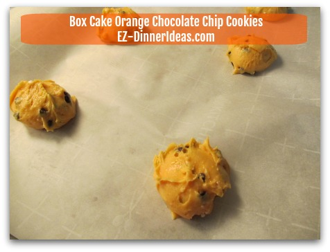 Box Cake Orange Chocolate Chip Cookies - Use ice-cream scoop to transfer cookie dough on a parchment paper-lined baking sheet