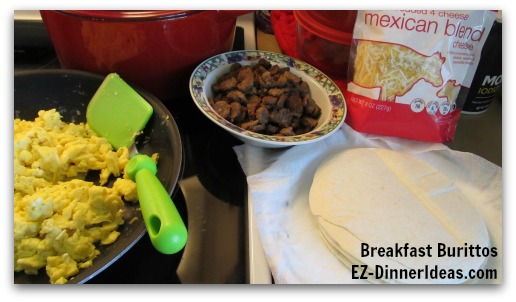 Serve the breakfast burritos like this and let everybody assembles their own.  Or you can add some side dishes to spice up the recipe.