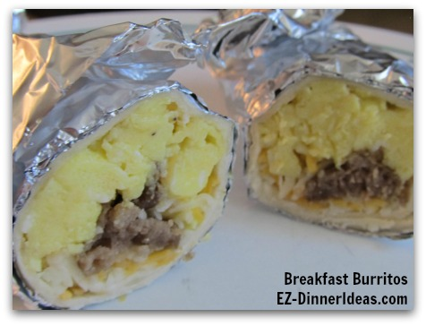 This breakfast burritos recipe is so versatile.  You can make ahead, to-go or let everybody to assemble their own.  Great for any time and anywhere.