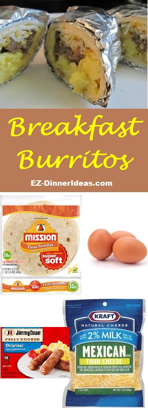 Breakfast Burritos - 4 ingredients to make a quick and easy meal and feed a crowd or breakfast to-go.