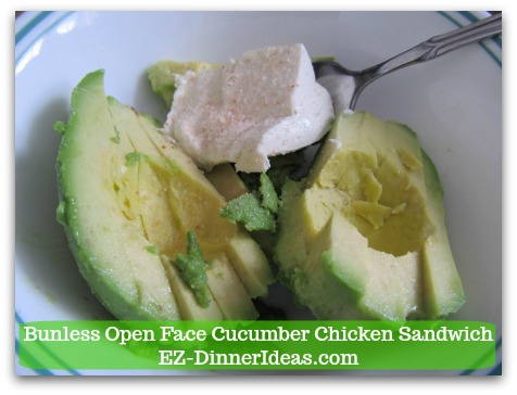 Easy No Cook Snack | Bunless Open Face Cucumber Chicken Sandwich - Mix both avocado and cream cheese together with a folk