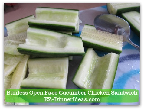 Easy No Cook Snack | Bunless Open Face Cucumber Chicken Sandwich - Use a spoon to scoop out cucumber seeds to make a trench