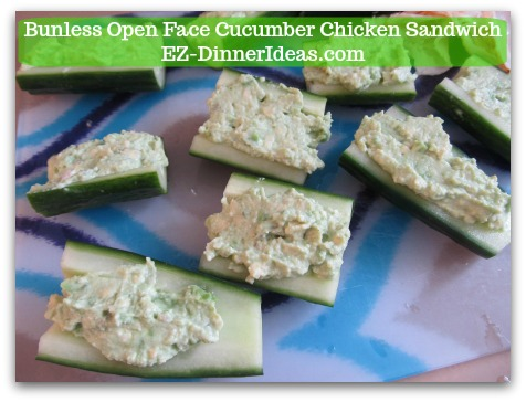 Easy No Cook Snack | Bunless Open Face Cucumber Chicken Sandwich - Use knife to fill the cucumber trench with cream cheese mixture