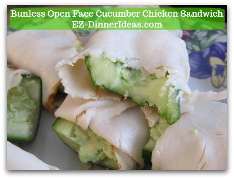 Bunless Cucumber Chicken Sandwich- This easy no cook snack is great for after school snack and party finger food.  You can even have your little ones to help you, too.