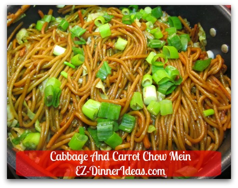 Cabbage And Carrot Chow Mein - Then add pasta, seasonings and garnish with scallions