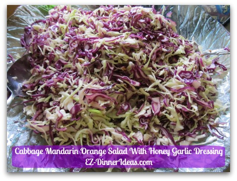 Cabbage Mandarin Orange Salad With Honey Garlic Dressing - Once it is tossed with the dressing, the volume will shrink down