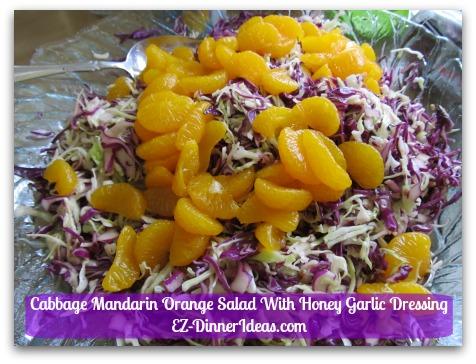 Back To School Recipes - Cabbage Mandarin Orange Salad with Honey Garlic Dressing