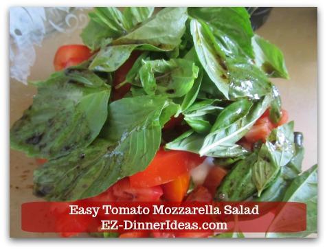 Caprese Salad Recipe | Easy Tomato Mozzarella Salad - Add vinaigrette on top of salad.
