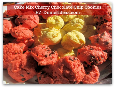 Cookie Recipe Using Cake Mix   Cake Mix Cherry Chocolate Chip Cookies - Enjoy with other fruity flavored cookies.
