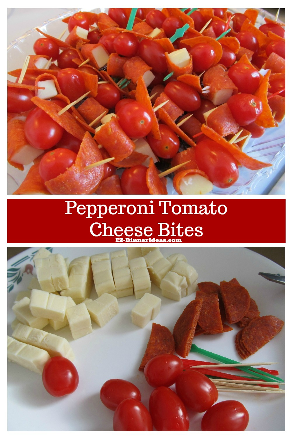 Cheese finger food is always on a party table.  But this one is creative and beautiful.  Try this pepperoni tomato cheese bites.  Your guests will appreciate your extra effort.