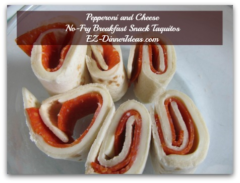 Pepperoni and Cheese No-Fry Breakfast Snack Taquitos - Making pinwheels out of this taquito is pretty cool