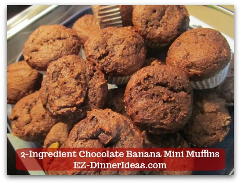 2-Ingredient Chocolate Banana Mini Muffins - This devils food recipe is insanely easy and delicious by adding some overripe bananas.