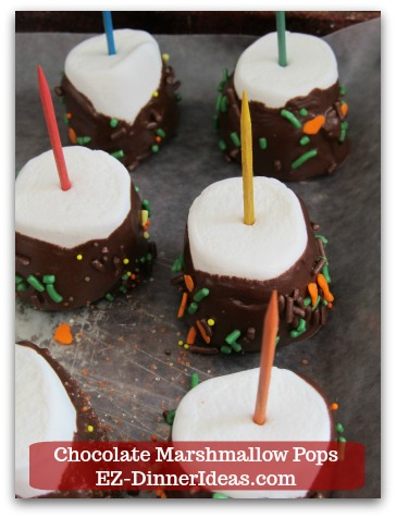 Chocolate Marshmallow Recipe | Chocolate Marshmallow Pops - Repeat previous steps until all marshmallow is covered with melted chocolate.