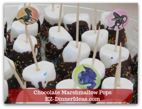 Chocolate Marshmallow Recipe | Chocolate Marshmallow Pops - Use stickers to put on top of toothpicks or skewers to tie your party theme together.