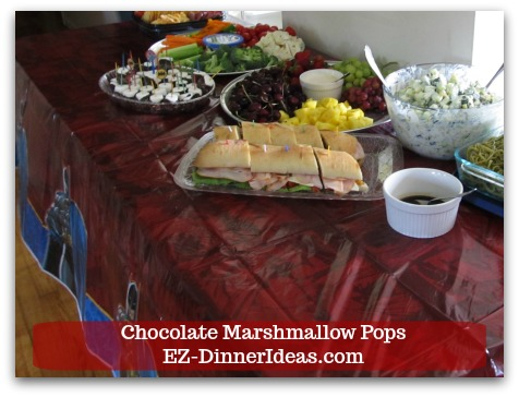 Chocolate Marshmallow Recipe | Chocolate Marshmallow Pops - You can also use some confetti pieces to tie this dessert together with your party theme.