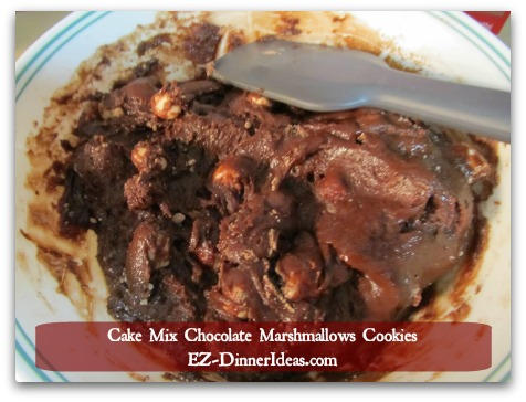 Cake Mix Chocolate Marshmallow Cookies - Once batter is mixed, use an ice cream scoop or your hand, form golf ball-sized balls of cookie dough