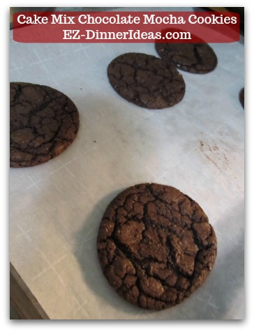 Recipe for Devils Food | Cake Mix Chocolate Mocha Cookies - Once it is baked, let cookies cool at room temperature.