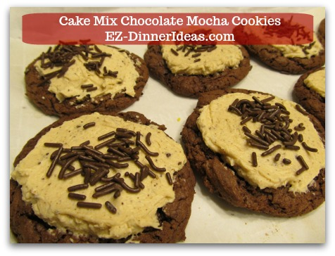 Recipe for Devils Food | Cake Mix Chocolate Mocha Cookies - Adding sprinkles on top to garnish (optional).  ENJOY!