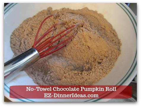 Chocolate Cake Roll | No-Towel Chocolate Pumpkin Roll - Whisk to combine.