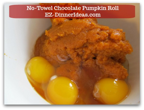 Chocolate Cake Roll | No-Towel Chocolate Pumpkin Roll - In another mixing bowl, combine all wet ingredients.